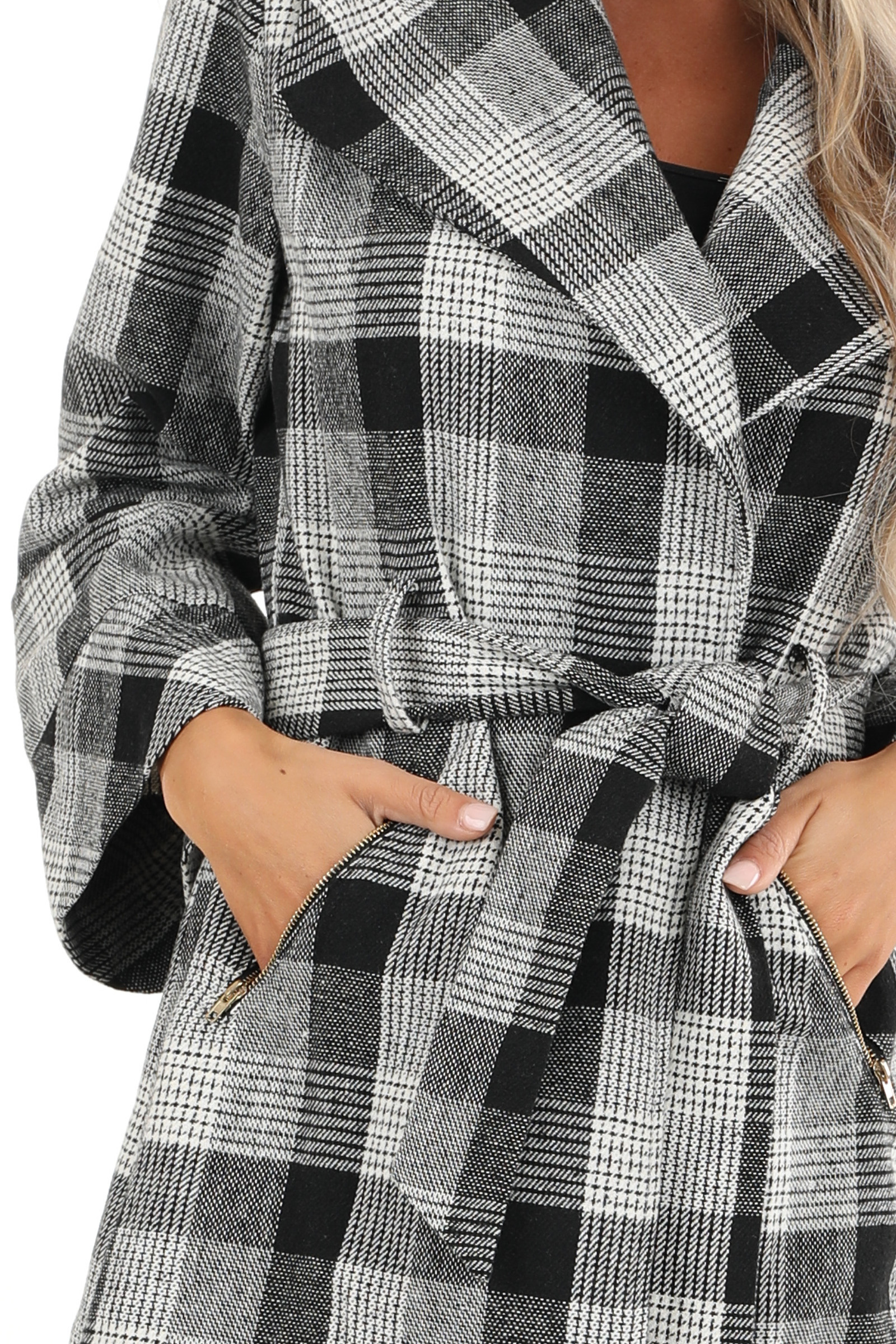 Black and White Plaid Coat with Self Tie Belt detail