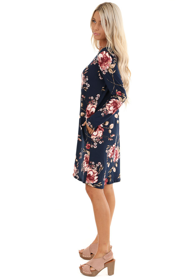 Midnight Navy and Pink Floral Print Dress with Long Sleeves side full body
