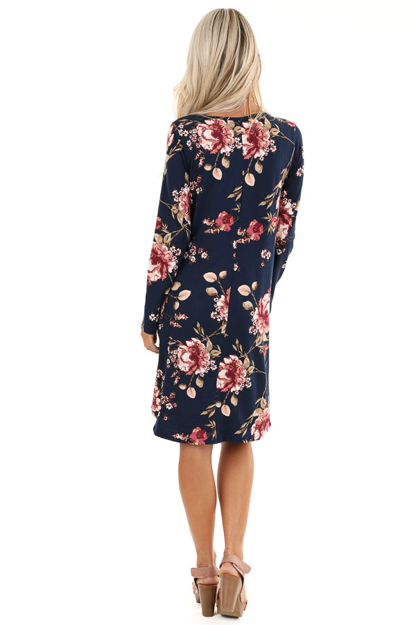 Midnight Navy and Pink Floral Print Dress with Long Sleeves back full body