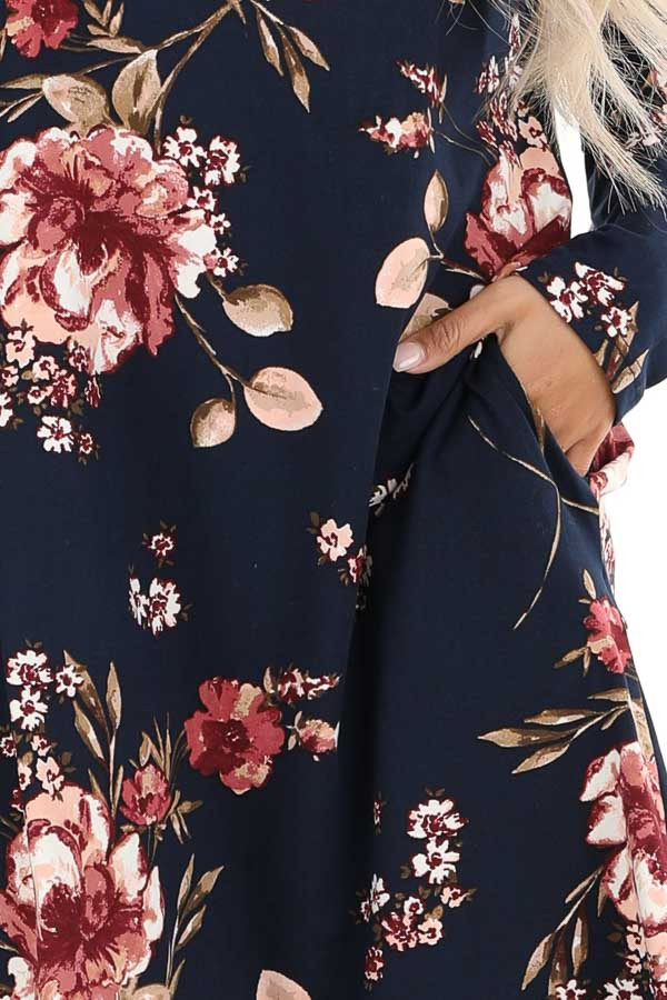 Midnight Navy and Pink Floral Print Dress with Long Sleeves detail
