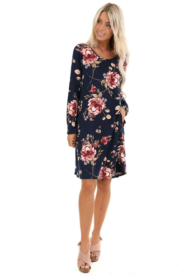 Midnight Navy and Pink Floral Print Dress with Long Sleeves front full body