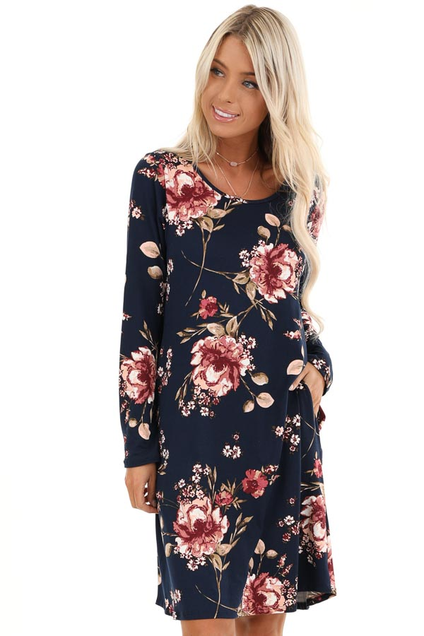 Midnight Navy and Pink Floral Print Dress with Long Sleeves front close up
