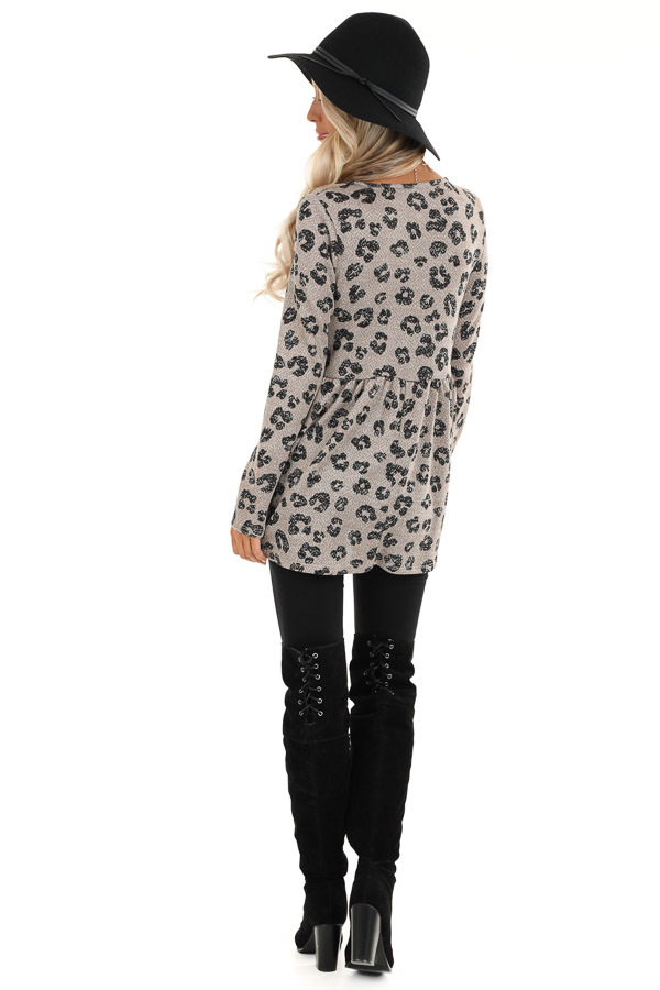Taupe with Black Leopard Print Top with Long Sleeves back full body
