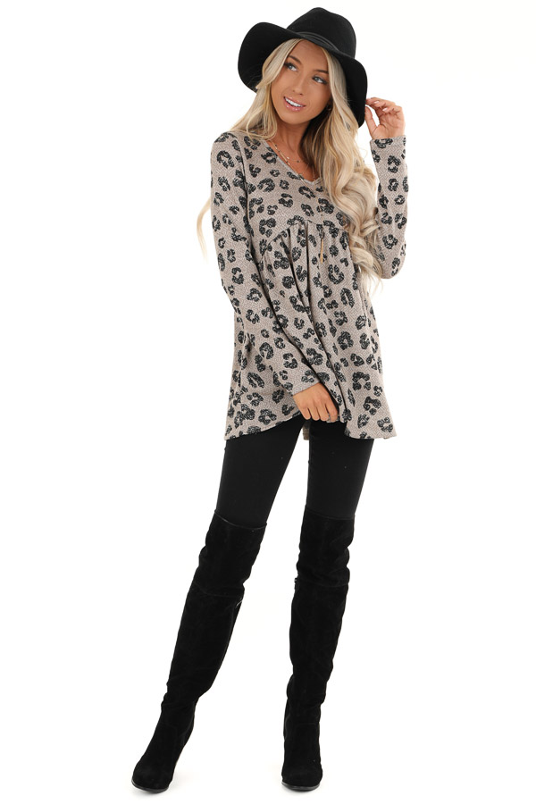 Taupe with Black Leopard Print Top with Long Sleeves front full body