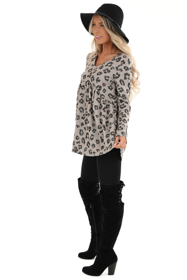 Taupe with Black Leopard Print Top with Long Sleeves side full body