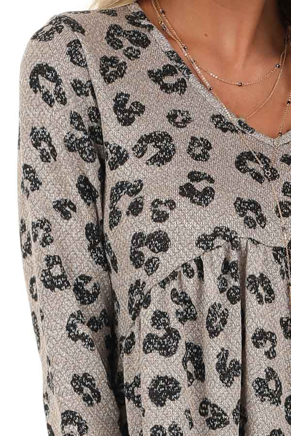 Taupe with Black Leopard Print Top with Long Sleeves detail