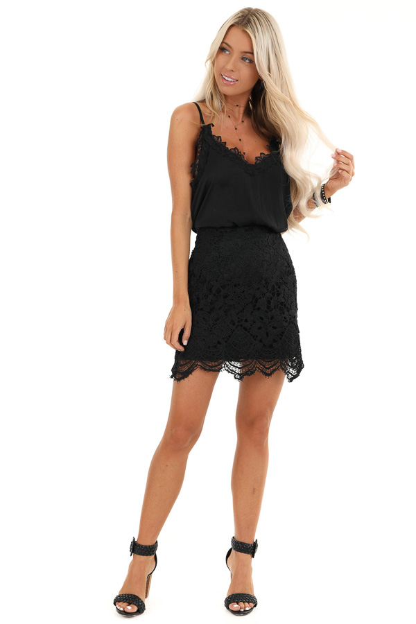 Black Crochet Lace Mini Skirt with Side Zipper Details front full body