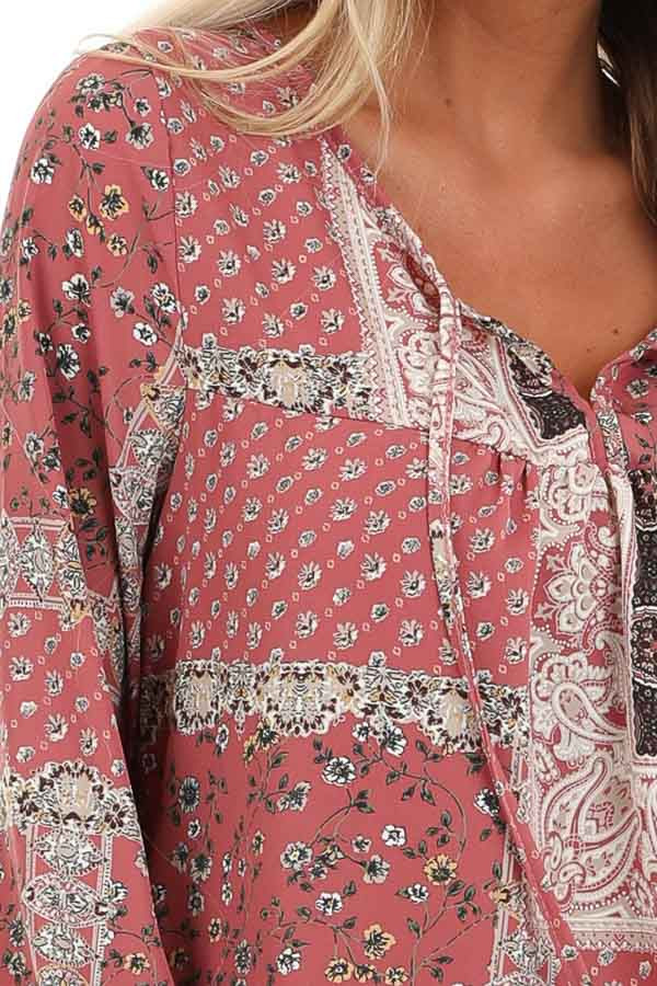 Mauve Floral Patchwork Print Long Sleeve Top with Self Tie detail