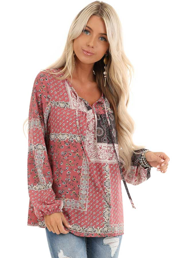 Mauve Floral Patchwork Print Long Sleeve Top with Self Tie front close up