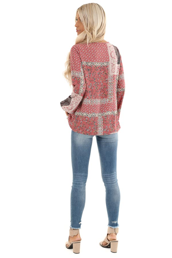 Mauve Floral Patchwork Print Long Sleeve Top with Self Tie back full body