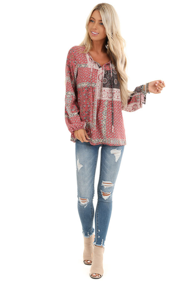 Mauve Floral Patchwork Print Long Sleeve Top with Self Tie front full body