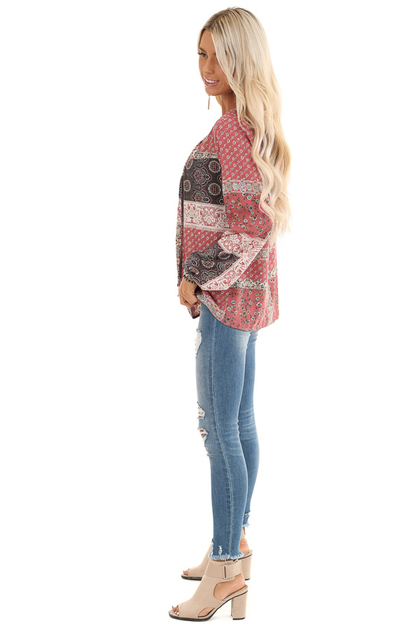 Mauve Floral Patchwork Print Long Sleeve Top with Self Tie side full body