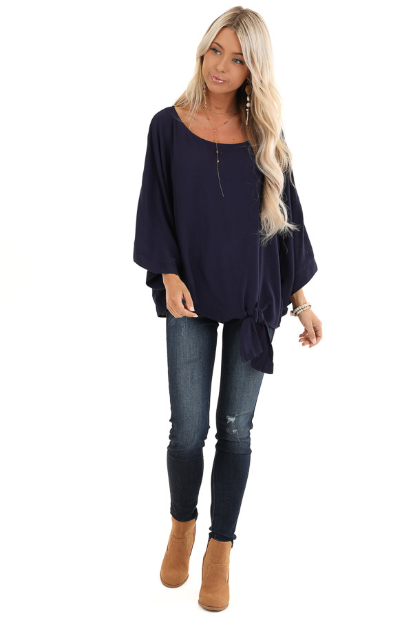 Navy Blue 3/4 Kimono Sleeve Top with Side Tie Detail front full body