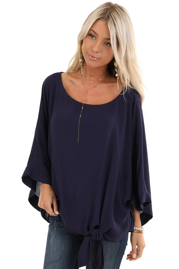 Navy Blue 3/4 Kimono Sleeve Top with Side Tie Detail front close up
