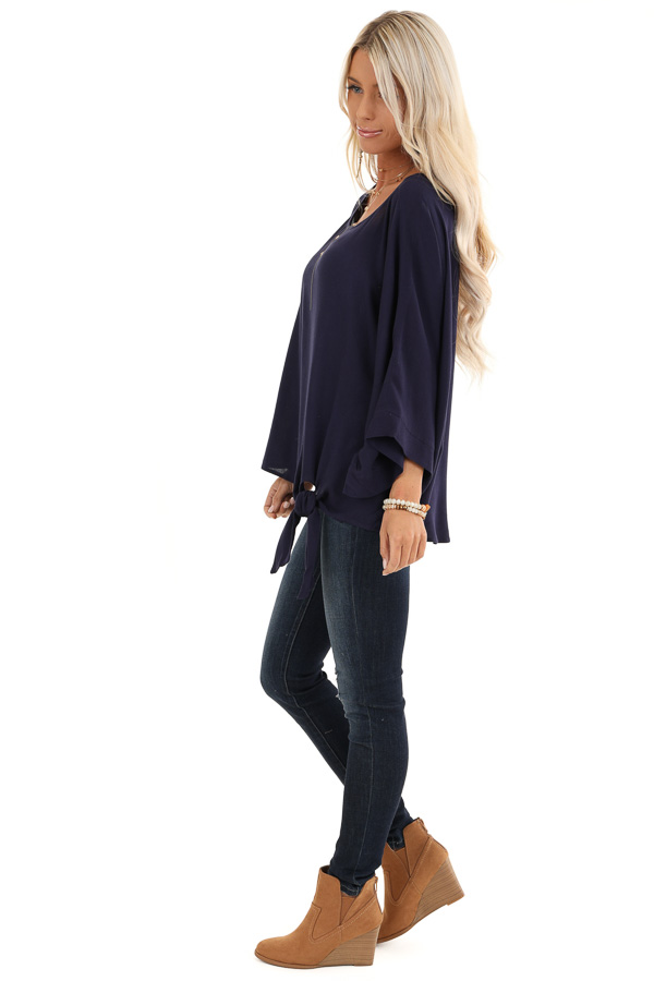 Navy Blue 3/4 Kimono Sleeve Top with Side Tie Detail side full body