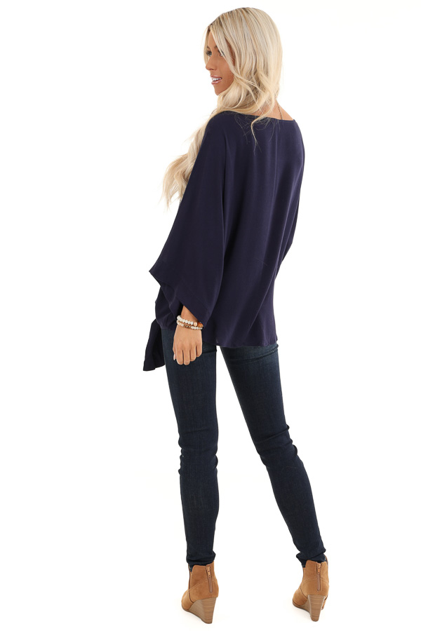 Navy Blue 3/4 Kimono Sleeve Top with Side Tie Detail back full body