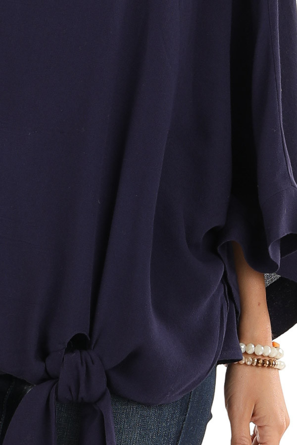 Navy Blue 3/4 Kimono Sleeve Top with Side Tie Detail detail