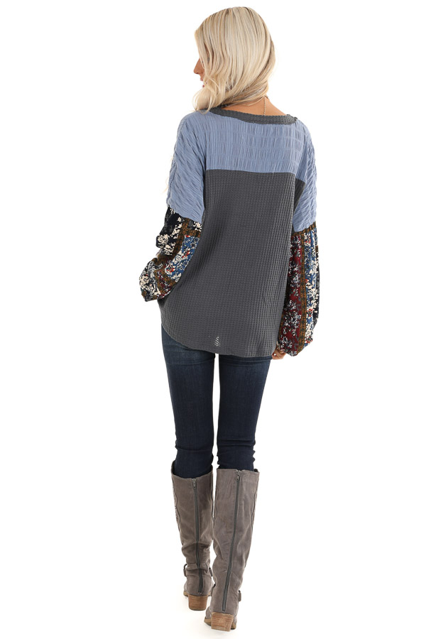 Charcoal Waffle Knit Top with Colorful Multi Print Sleeves back full body