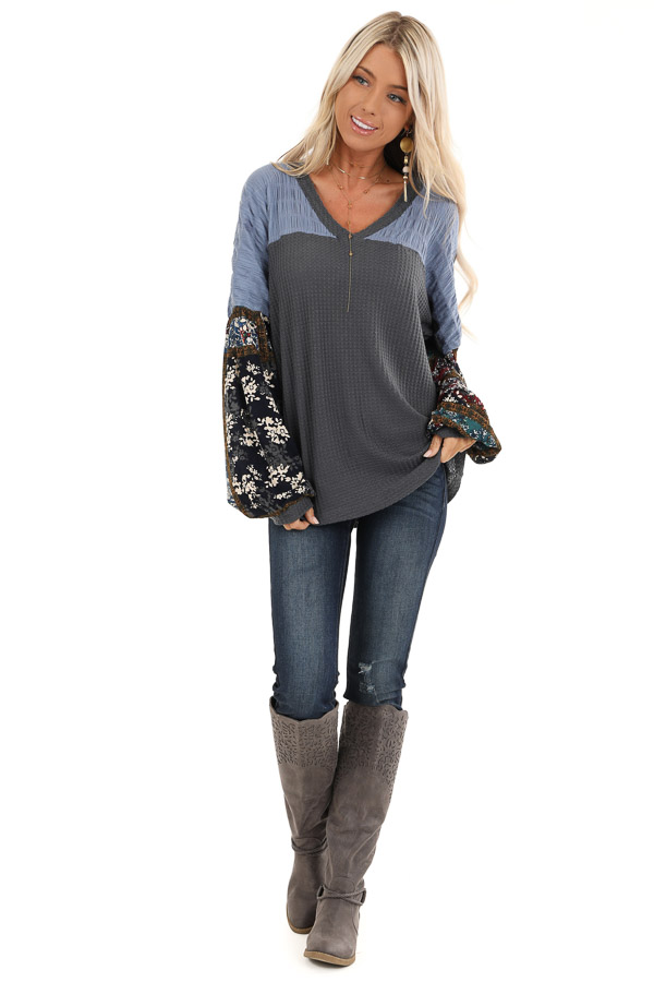Charcoal Waffle Knit Top with Colorful Multi Print Sleeves front full body
