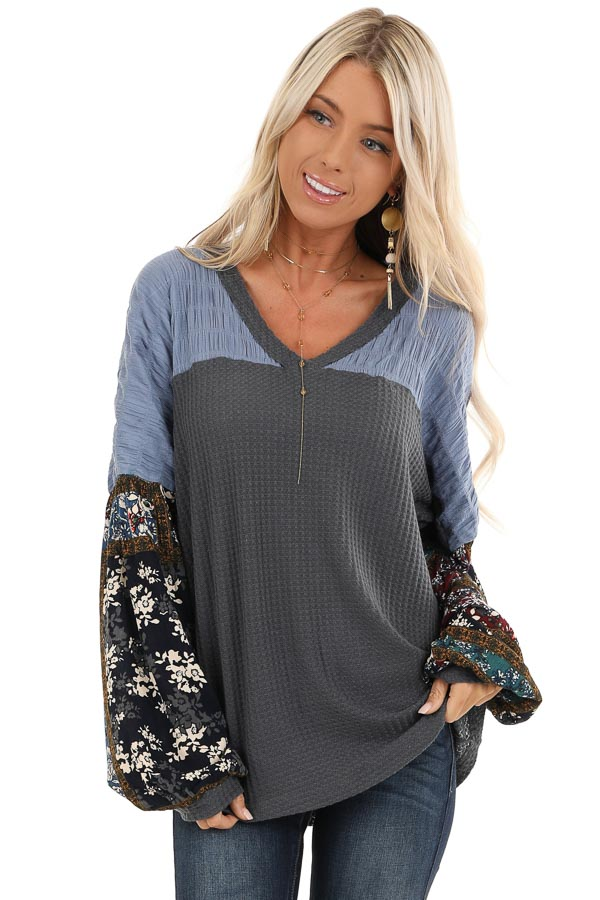 Charcoal Waffle Knit Top with Colorful Multi Print Sleeves front close up