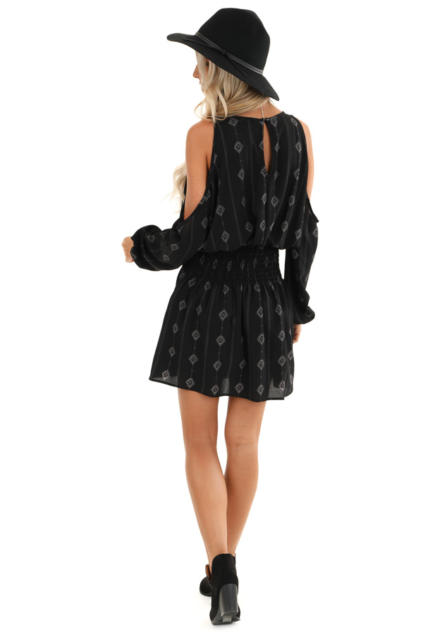 Black Long Sleeve Patterned Mini Dress with Cold Shoulders back full body