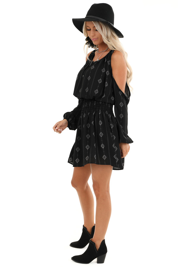 Black Long Sleeve Patterned Mini Dress with Cold Shoulders side full body