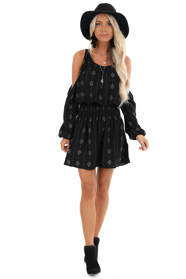 Black Long Sleeve Patterned Mini Dress with Cold Shoulders front full body