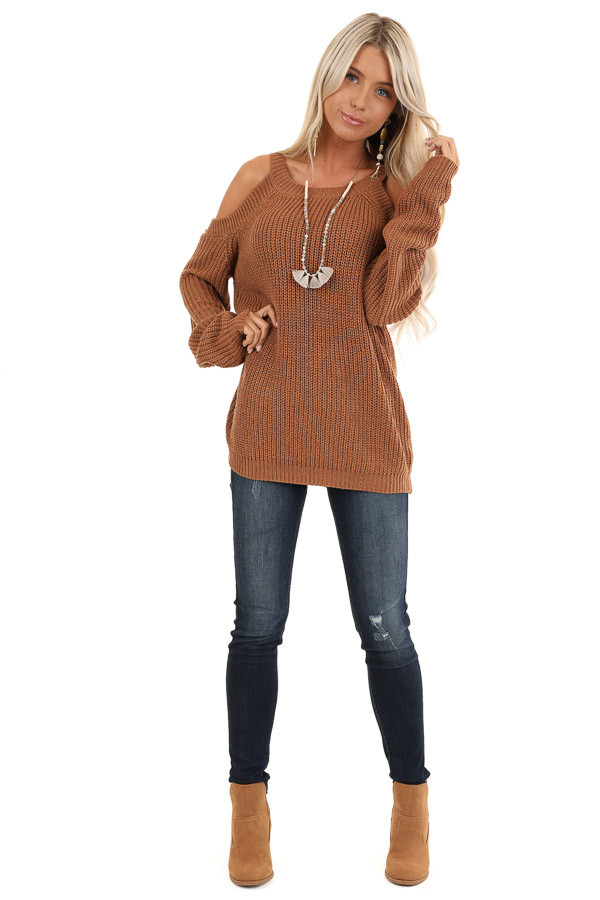 Walnut Cold Shoulder Loose Fit Knit Sweater front full body