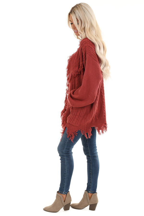 Rust Cable Knit Cardigan with Raw Cut Edges and Pockets side full body