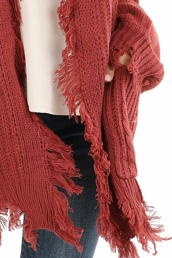 Rust Cable Knit Cardigan with Raw Cut Edges and Pockets detail