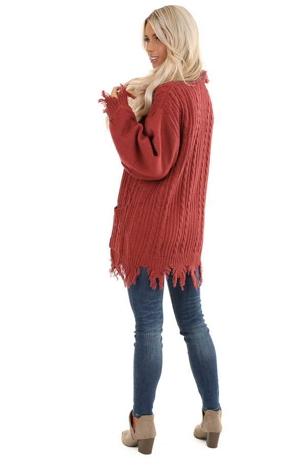 Rust Cable Knit Cardigan with Raw Cut Edges and Pockets back full body