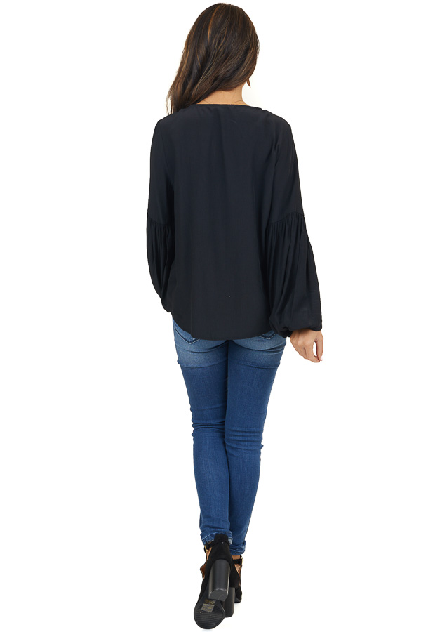 Black Embroidered Satin Top with Balloon Sleeves