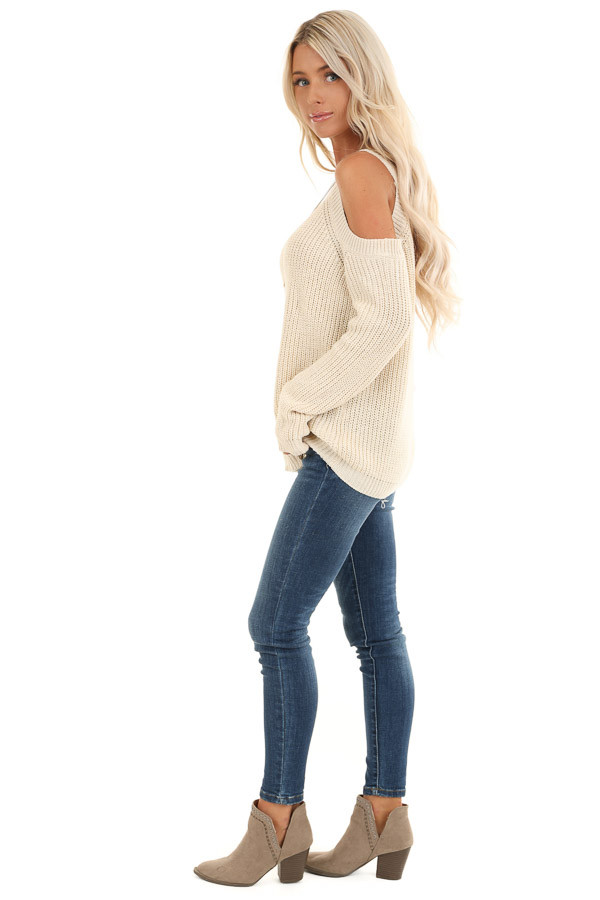 Cream Cable Knit Sweater with Cold Shoulders side full body