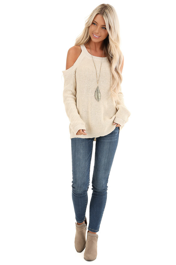 Cream Cable Knit Sweater with Cold Shoulders front full body