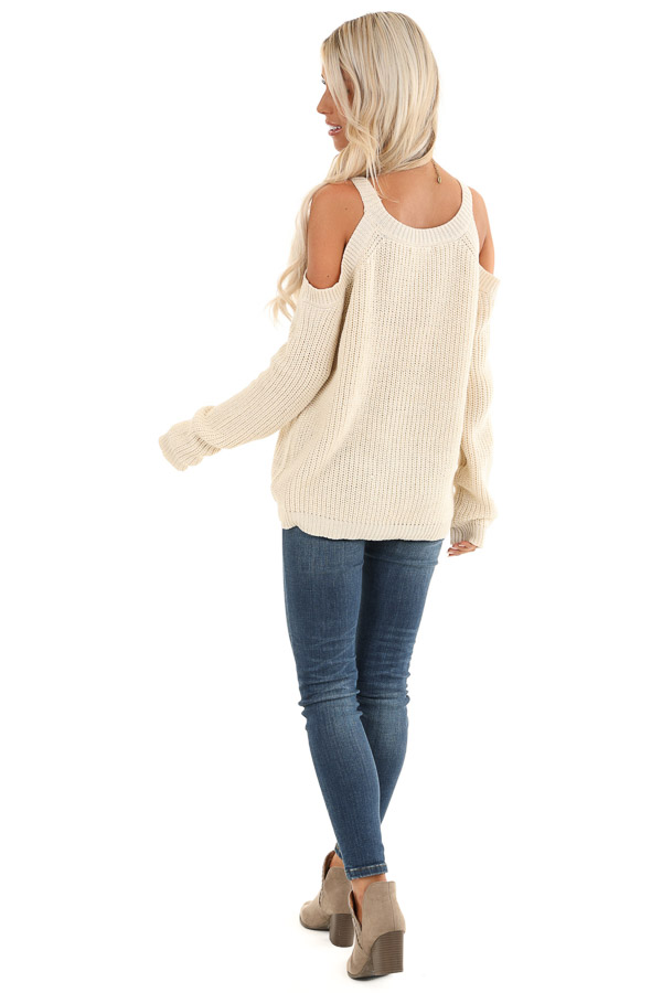 Cream Cable Knit Sweater with Cold Shoulders back full body