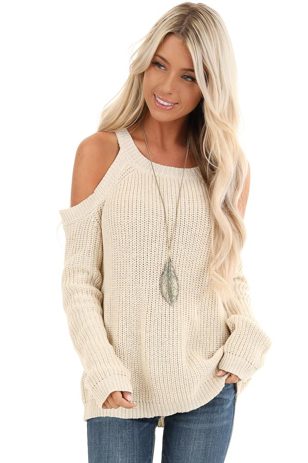 Cream Cable Knit Sweater with Cold Shoulders front close up