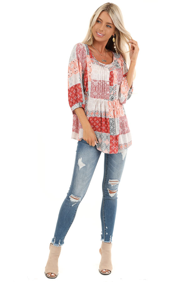 Coral and Daisy White Patchwork Pleated Top with 3/4 Sleeves front full body