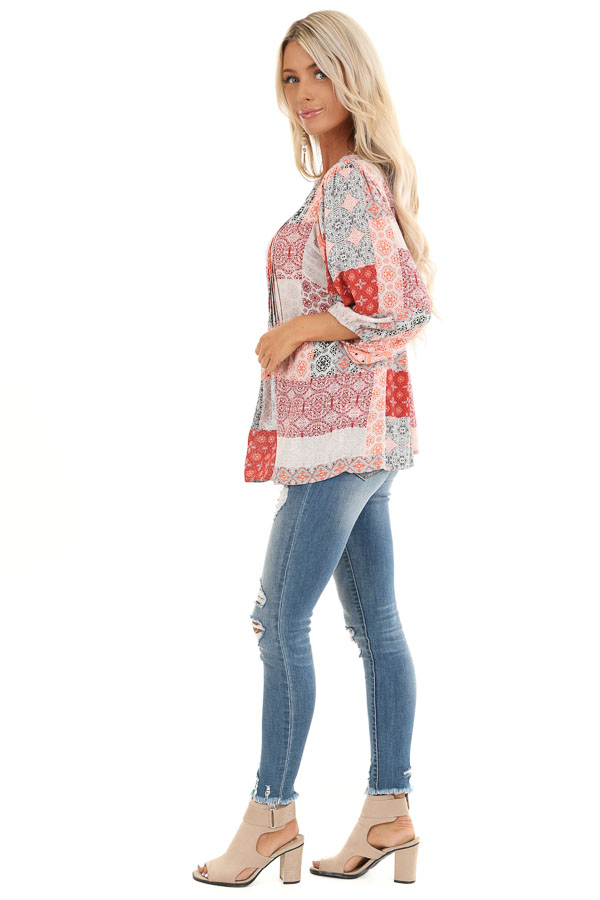 Coral and Daisy White Patchwork Pleated Top with 3/4 Sleeves side full body