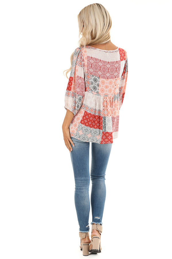 Coral and Daisy White Patchwork Pleated Top with 3/4 Sleeves back full body