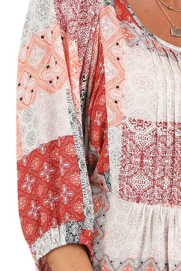 Coral and Daisy White Patchwork Pleated Top with 3/4 Sleeves detail