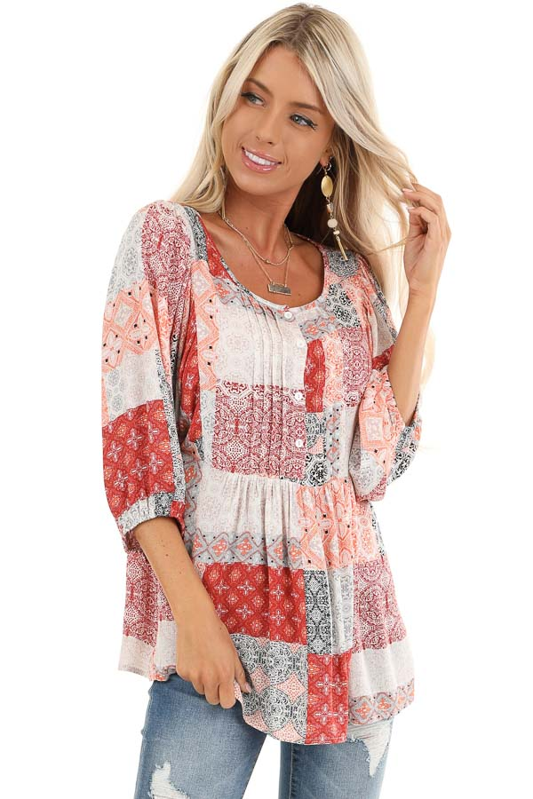 Coral and Daisy White Patchwork Pleated Top with 3/4 Sleeves front close up