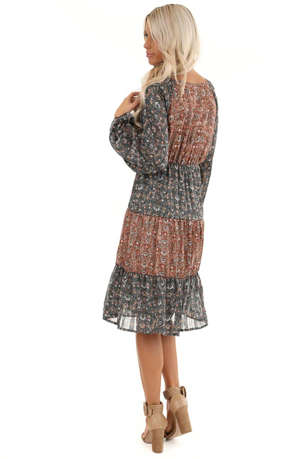 Teal and Rust Floral Print Color Block Long Sleeve Dress back full body