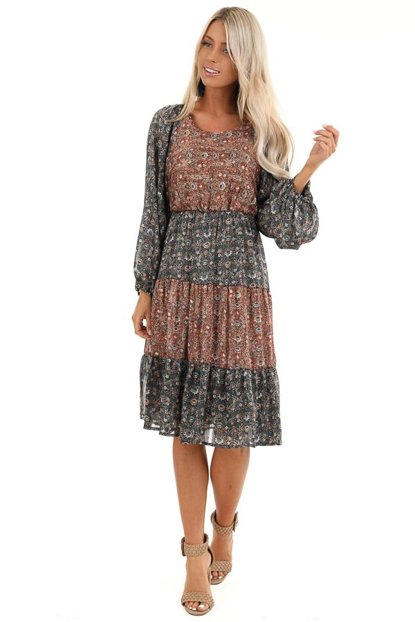 Teal and Rust Floral Print Color Block Long Sleeve Dress front full body