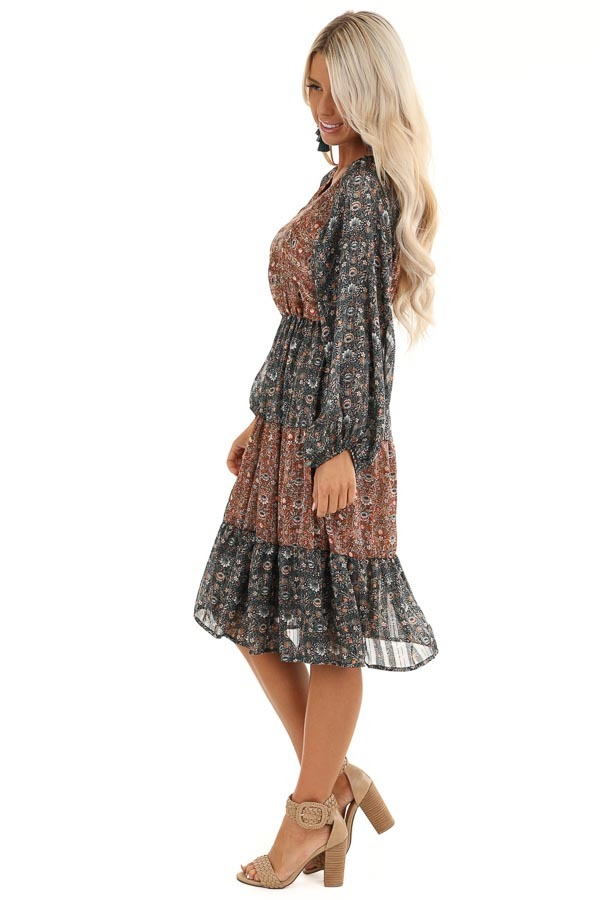 Teal and Rust Floral Print Color Block Long Sleeve Dress side full body