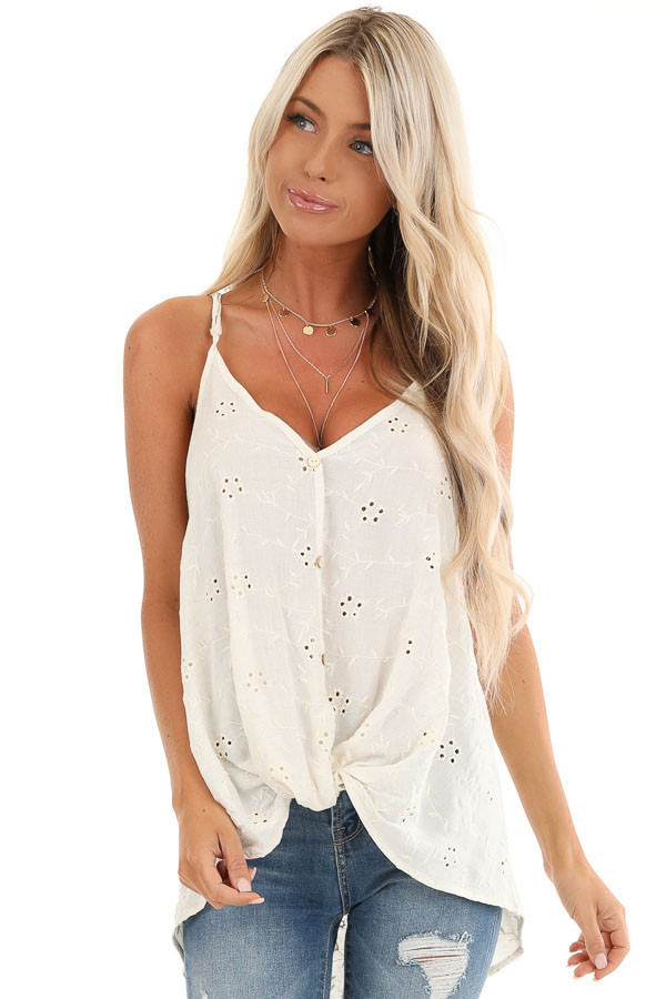 Cream V Neck Button Up Tank Top with Floral Eyelet Details front close up