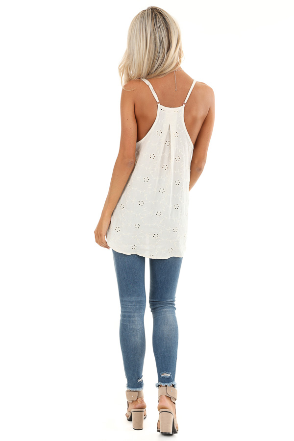 Cream V Neck Button Up Tank Top with Floral Eyelet Details back full body