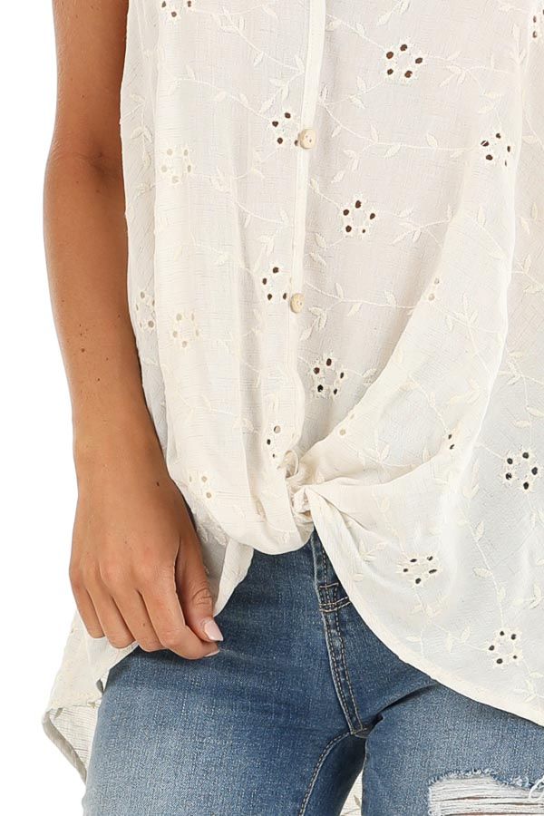 Cream V Neck Button Up Tank Top with Floral Eyelet Details detail
