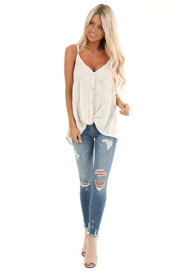 Cream V Neck Button Up Tank Top with Floral Eyelet Details front full body
