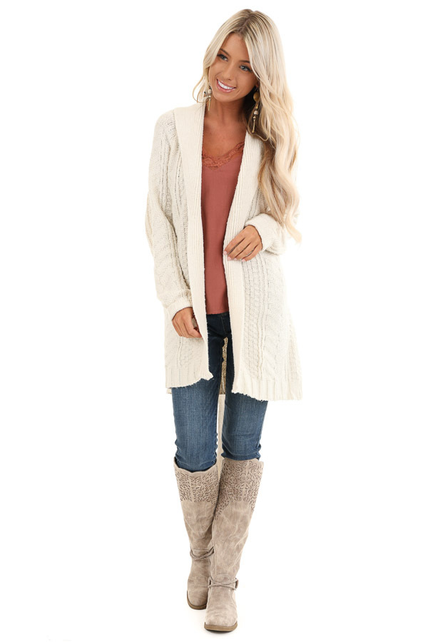 White Long Sleeve Cable Knit Cardigan with Waist Tie front full body