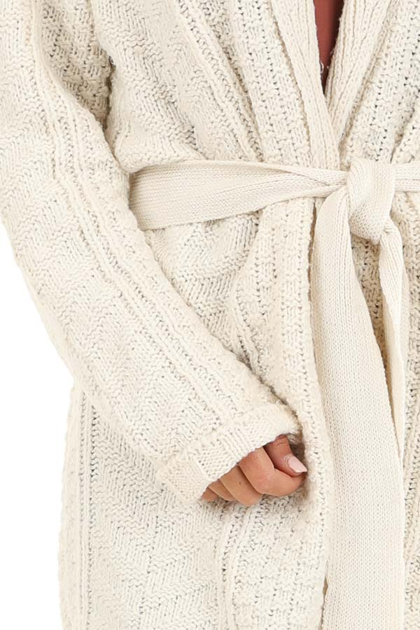 White Long Sleeve Cable Knit Cardigan with Waist Tie detail